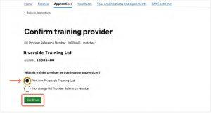 confirm a training provider to spend your levy with